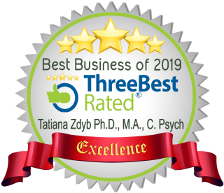 Three Best Rated Seal: Best Business of 2009 - Three Best Rated - Tatiana Zdyb Ph.D., M.A., C.Psych - Excellence